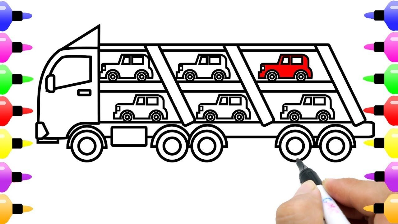 How To Draw Car Carrier For Kids Learn Colour Truck Coloring Page For Kids Learning Colors Truck Coloring Pages Coloring Pages For Kids
