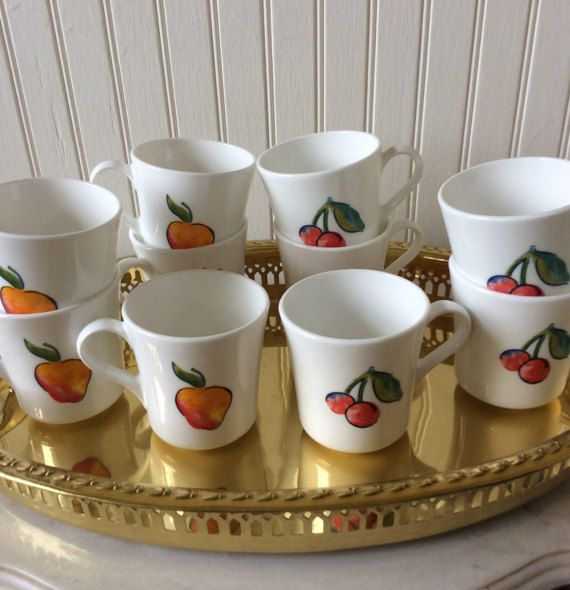 Sweet set of 5 fruit basket pattern Corning ware teacups. I have 10 ...
