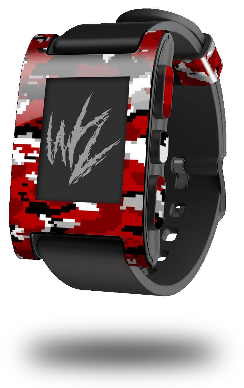 Wraptorcamo Digital Camo Red Decal Style Skin Fits Original Pebble Time Smartwatch Smart Watch Sold