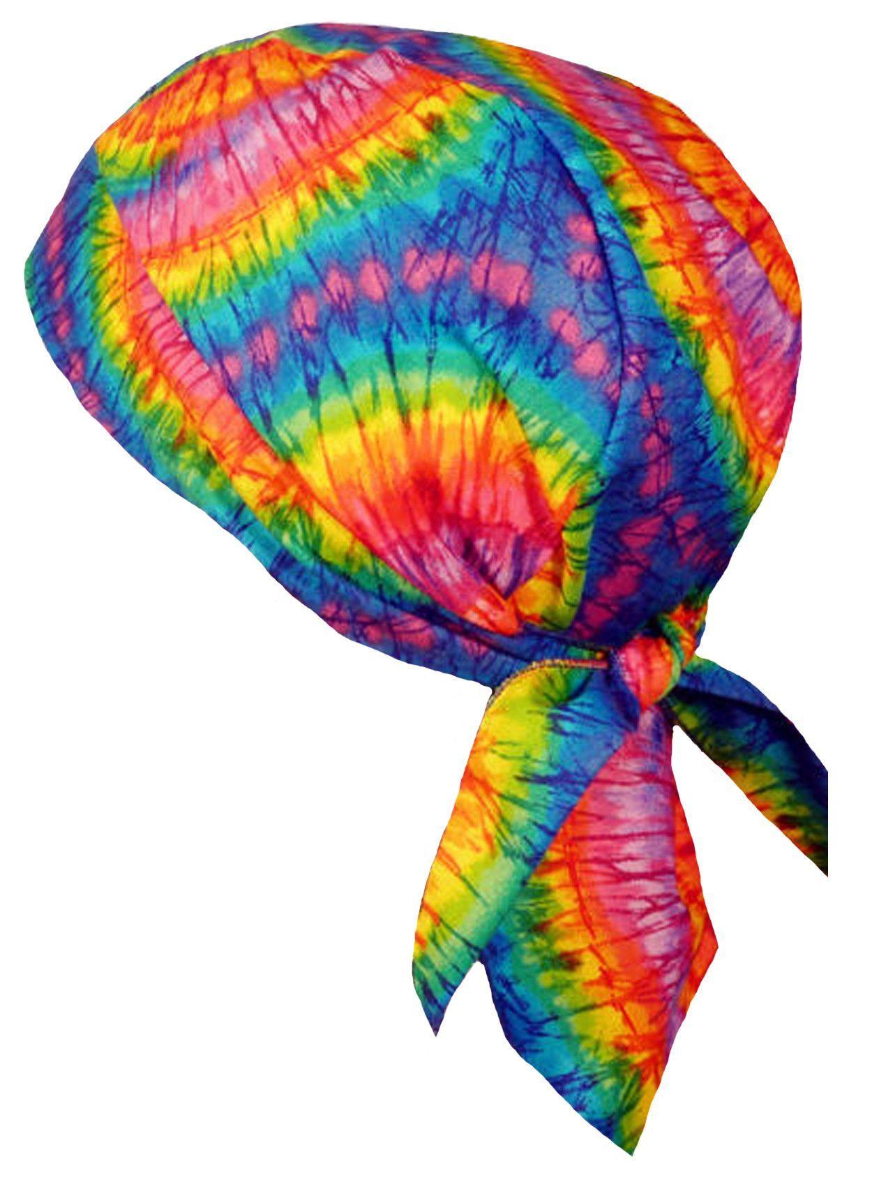 ec1ac2136f Deluxe Doo Rag Tie Dye with SWEAT BAND Rainbow Colors 1960s Head Wrap Durag  Skull Cap Cotton Sporty Motorcycle Do Hat