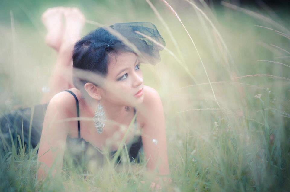 Woman, black dress, model, grass, photography