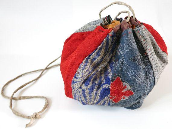 Red cotton tote bag with vintage silk shibori kimono applique