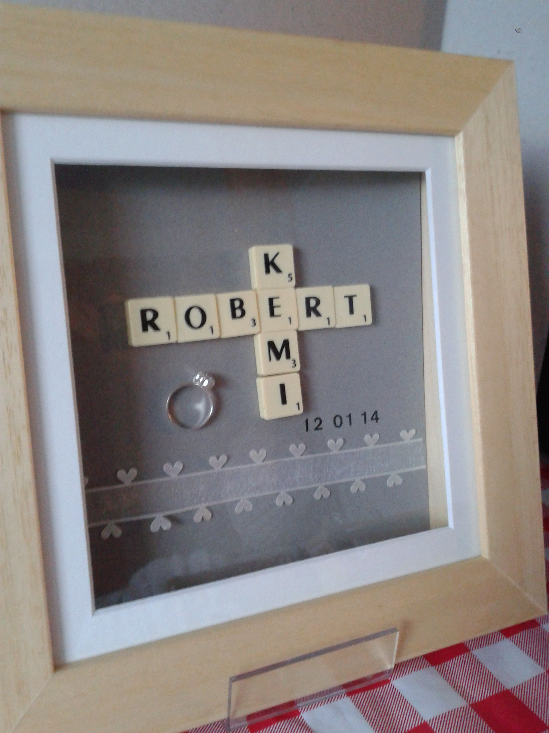 10 X 10 Scrabble Frame Engagement Gift 35 Patchworkpapillon@Gmailcom