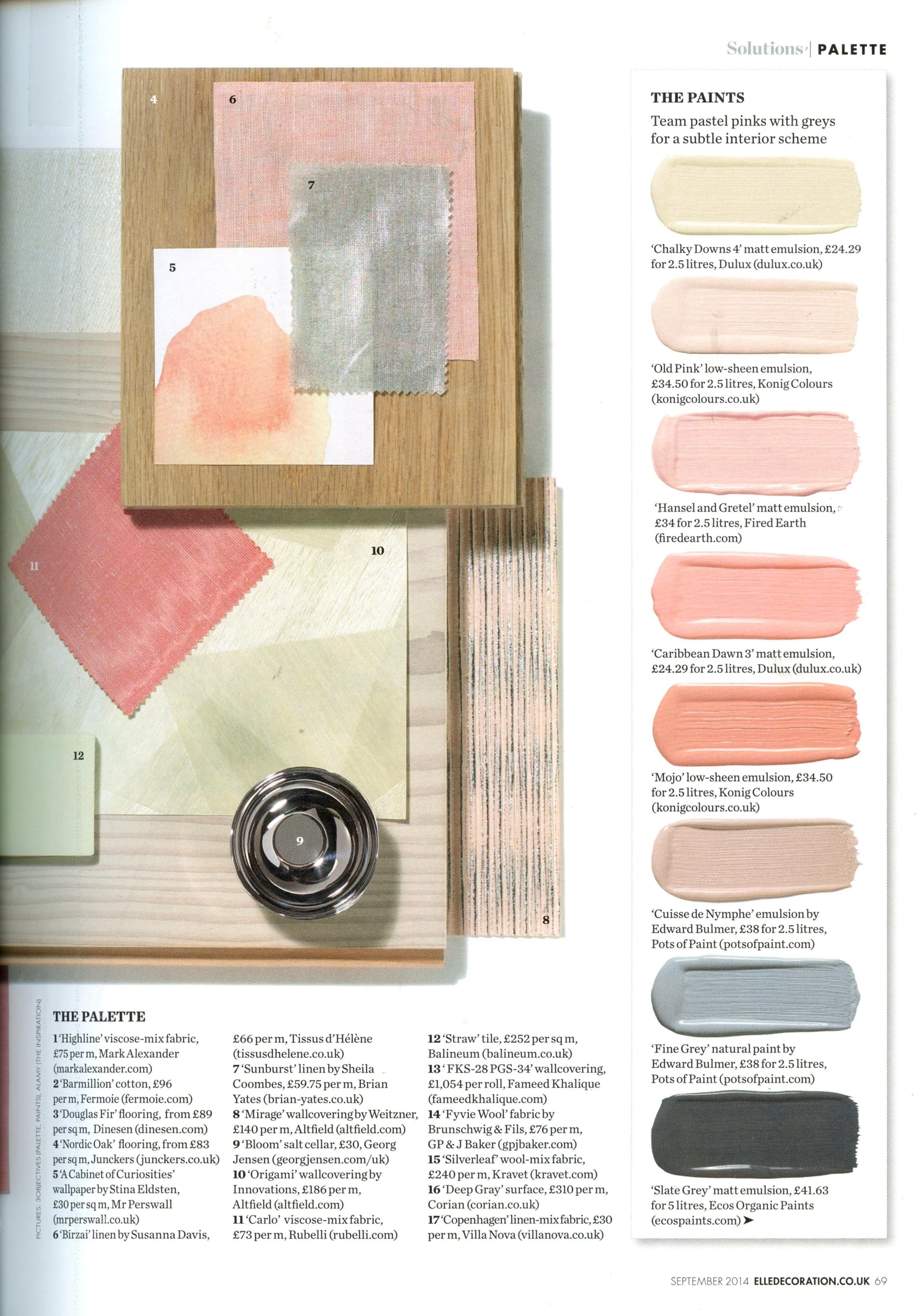 Paint Colors Via Elle Decoration, September 2014