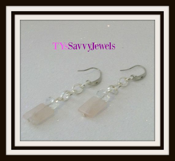 Minimal Rose Quartz Earrings Minimal Earrings by TYsSavvyJewels