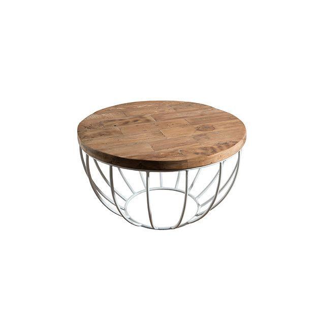 Table Basse Coque Blanche 60x60 Cm Appoline Teck Tables Basses