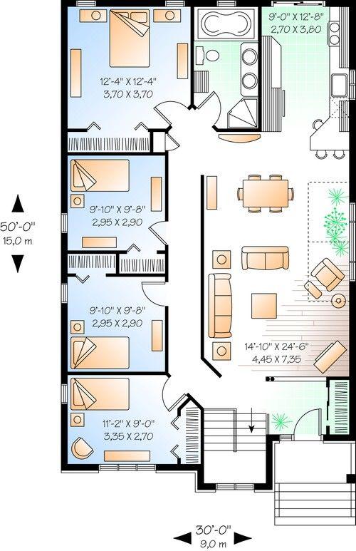House Plan 034 00695 Narrow Lot Plan 1 433 Square Feet 4 Bedrooms 1 Bathroom Bungalow Floor Plans Bungalow House Plans Narrow House Plans