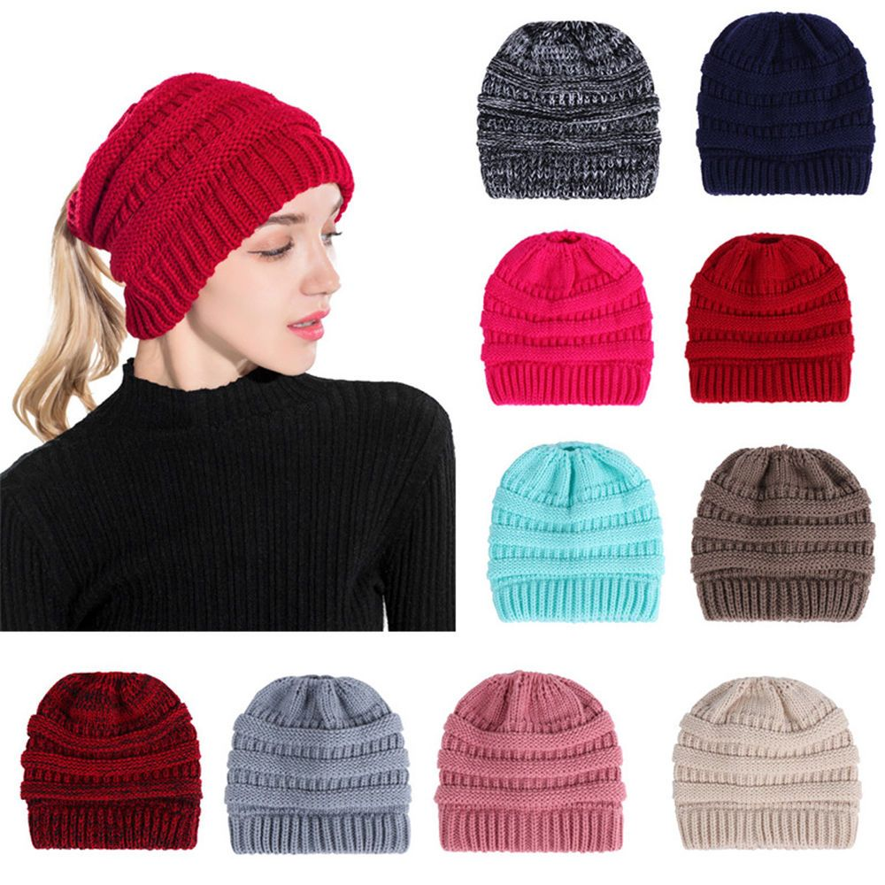 07117b52242 Women s Messy High Bun Ponytail Stretchy Beanie Skull Winter Warm Cap Hats  Chic  fashion  clothing  shoes  accessories  womensaccessories  hats (ebay  link)