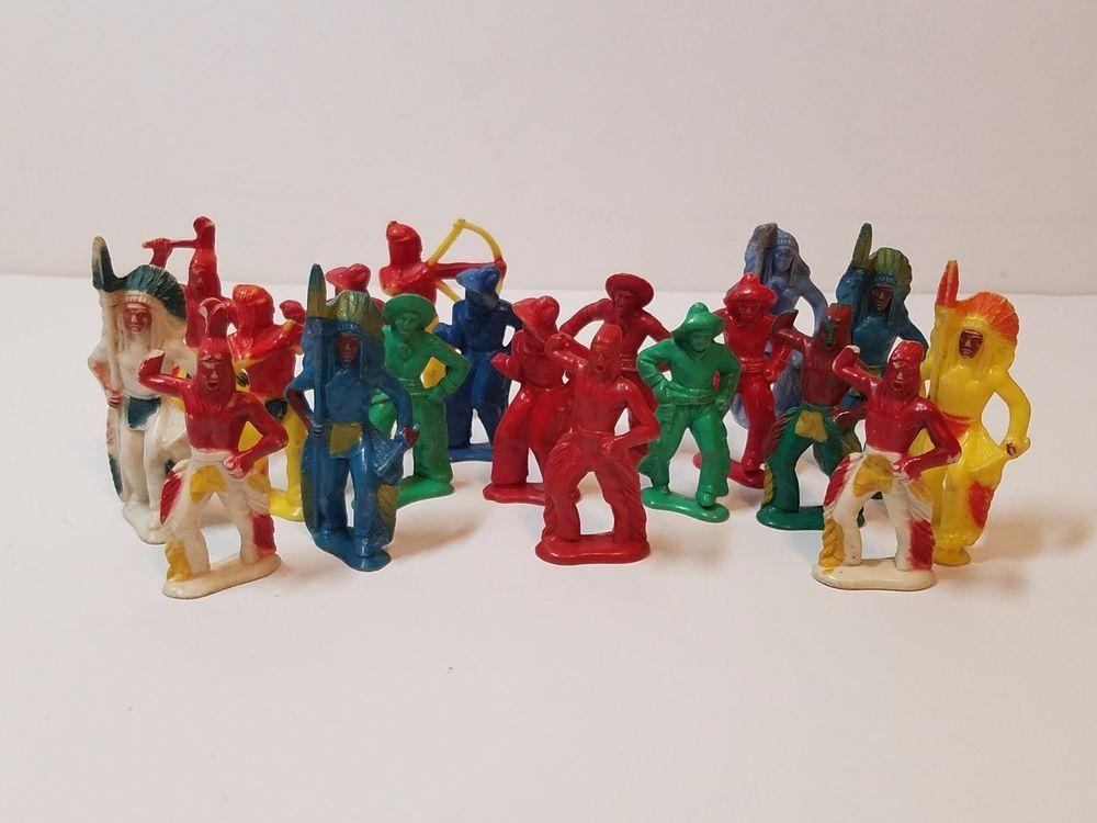 Vintage Beton Bergen Hard Plastic Toy Soldiers Cowboys