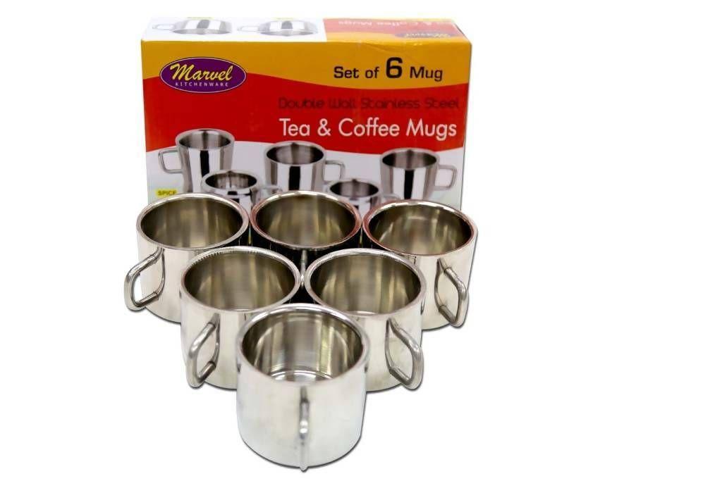 Marvel Stainless Steel Tea Coffee Mugs 6 Pc Indian