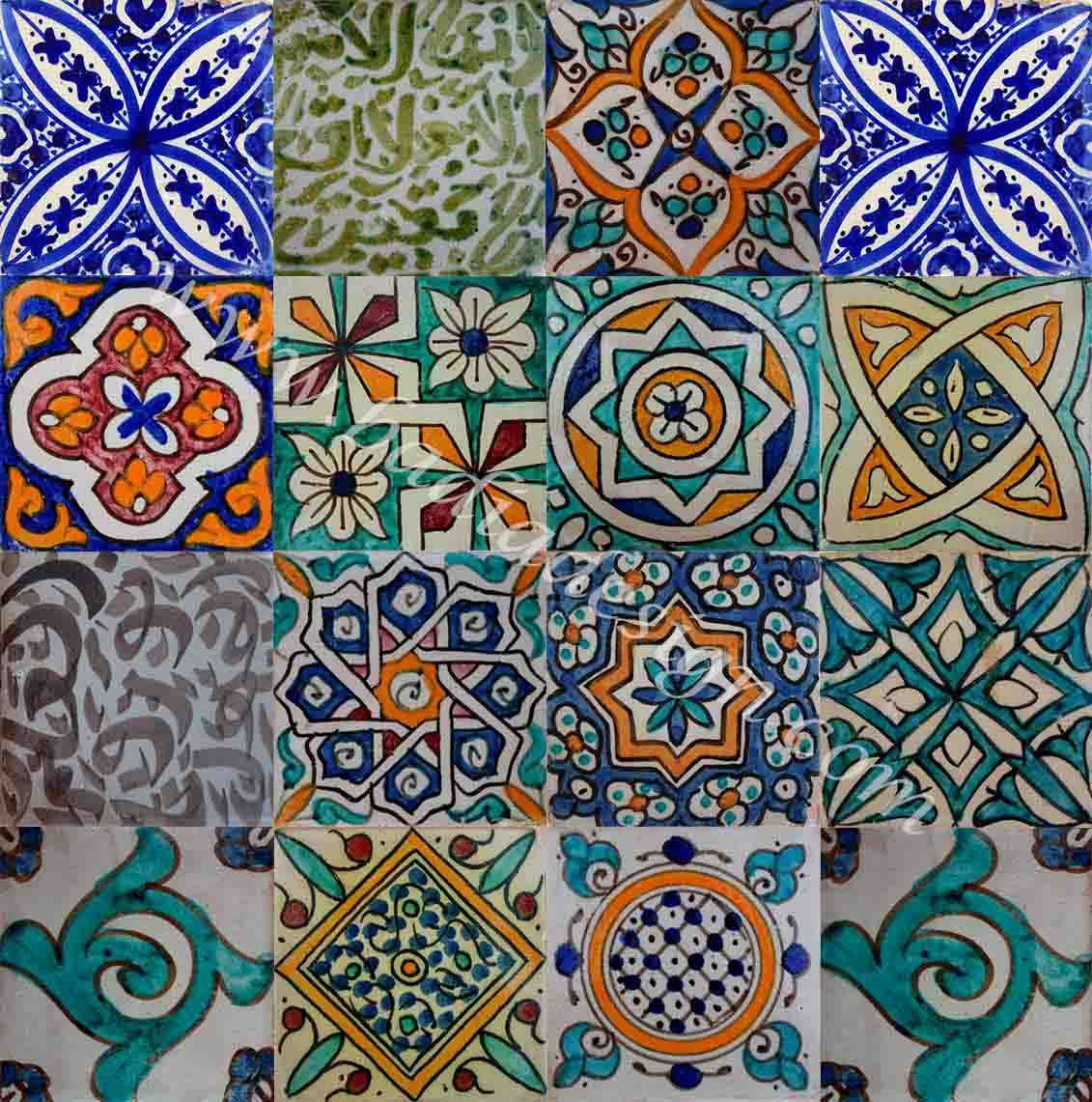 Moroccan Hand Painted Cement Tile | Cement tiles bathroom, Paint ...