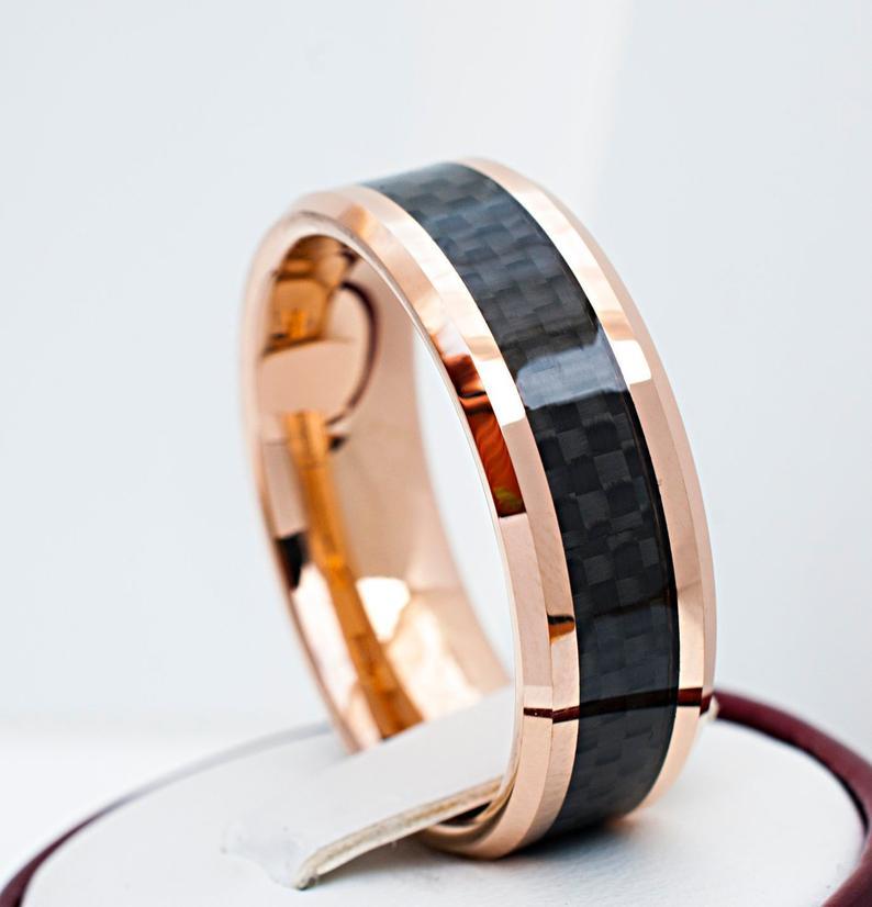 Men Rose Gold Tungsten Ring Black Carbon Fiber Inlay Wedding Band