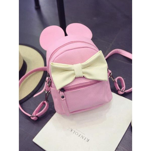 Korea New Cute Color Block Bowknot Drawstring Backpack ( 20) ❤ liked on  Polyvore featuring bags 1647afa85b920