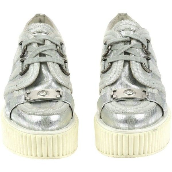 b03fc787432 Pre-owned Chanel Metallic Silver Lame Boy Creepers Size 37 (57980 RSD) ❤  liked on Polyvore featuring shoes
