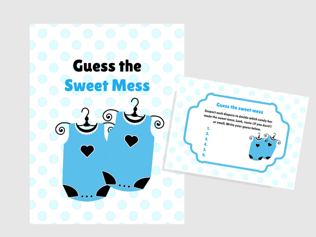 Twins Baby Sweet Mess Game, Name That Poo, Dirty Diaper Baby Shower,  Printable