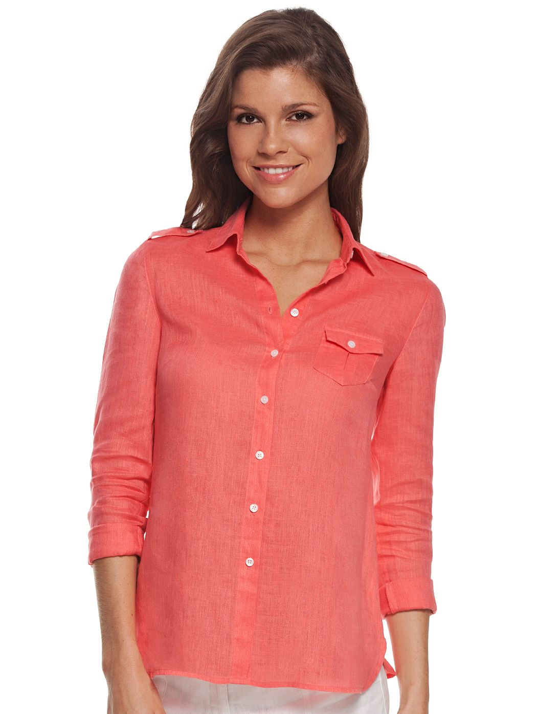 92d90dd507bc7 Coral Commandante Linen Shirt for Women