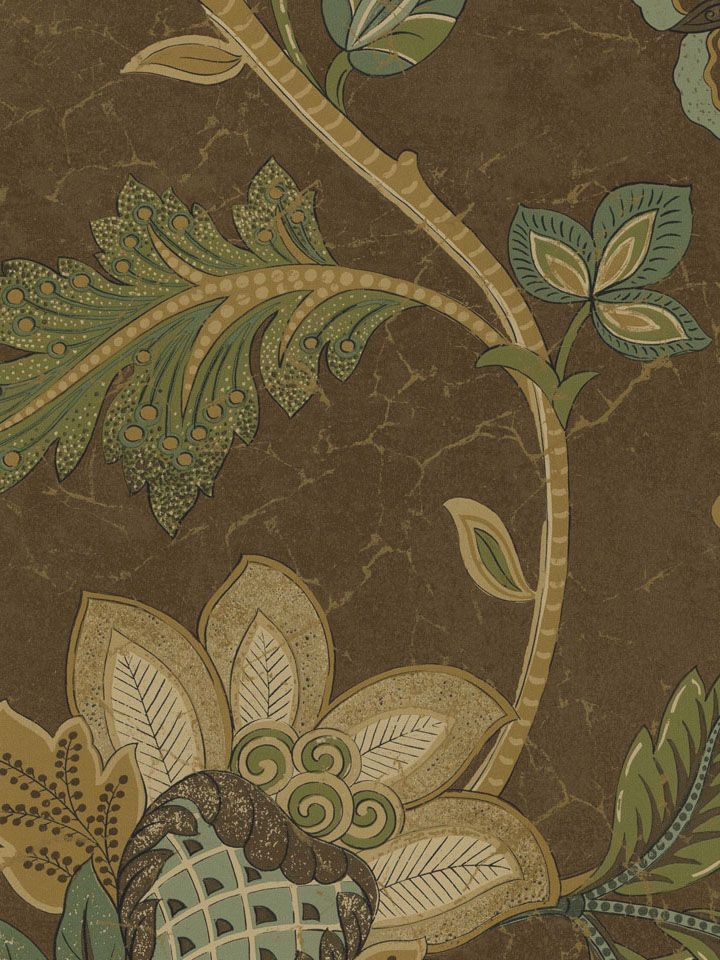 Soft Blue Large Trailing Jacobean Wallpaper By Seabrook