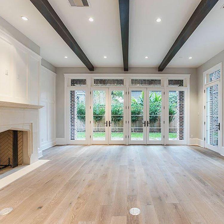 Great European White Oak Floors. Wood Beams. White French Doors. U201c#Houston #