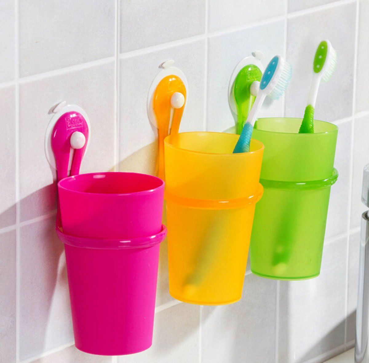 Amazon Com Fusicase Magic Cup Fusicase Creative Bathroom Plastic Suction Cup Hanging Tooth Mug Couples Toothbrush Cup Rose Sports Outdoors