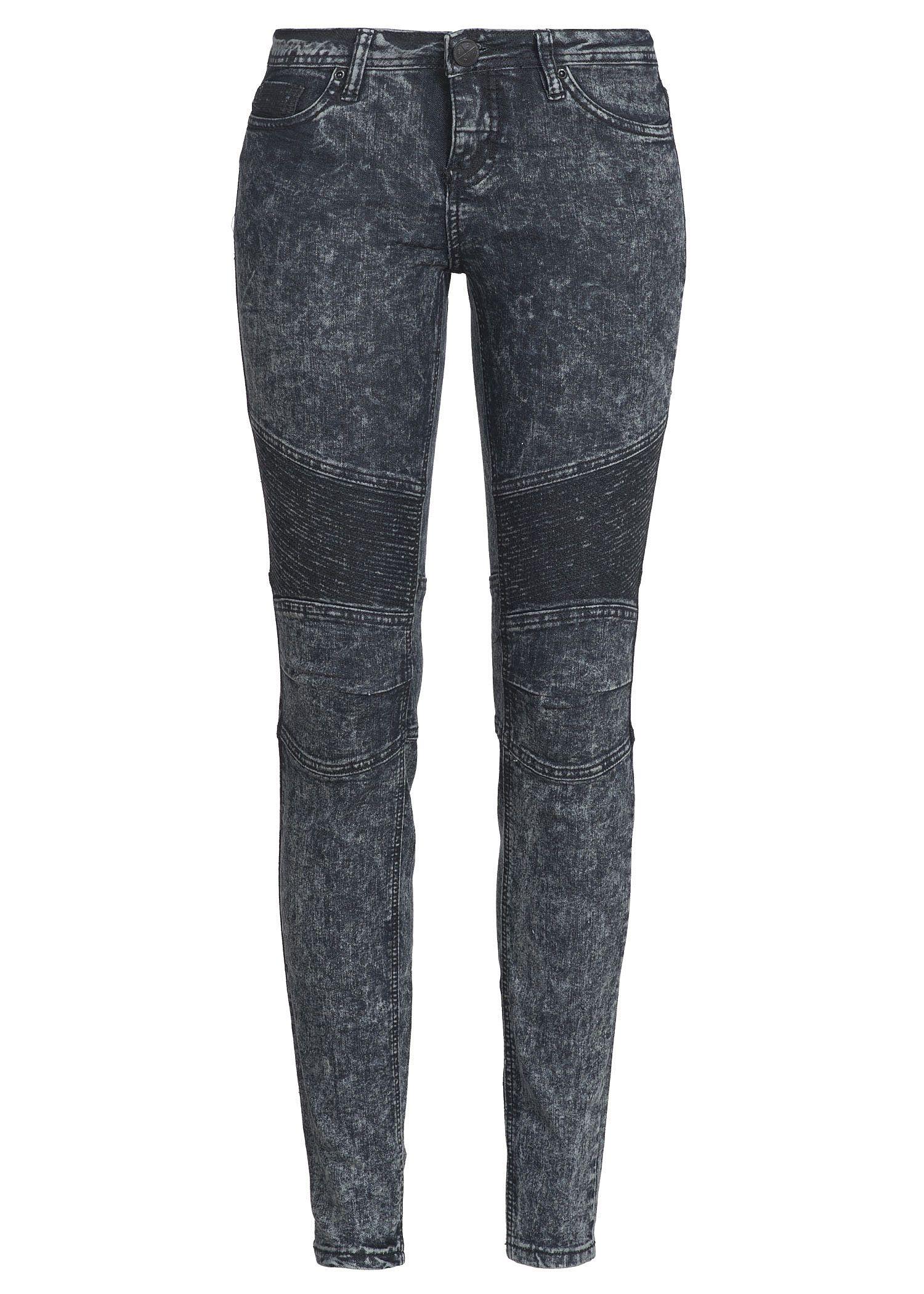 Eight2Nine Damen Acid Jeans Slim Fit 5-Pocket Style Knie mit Steppung schwarz denim kaufen   77Store