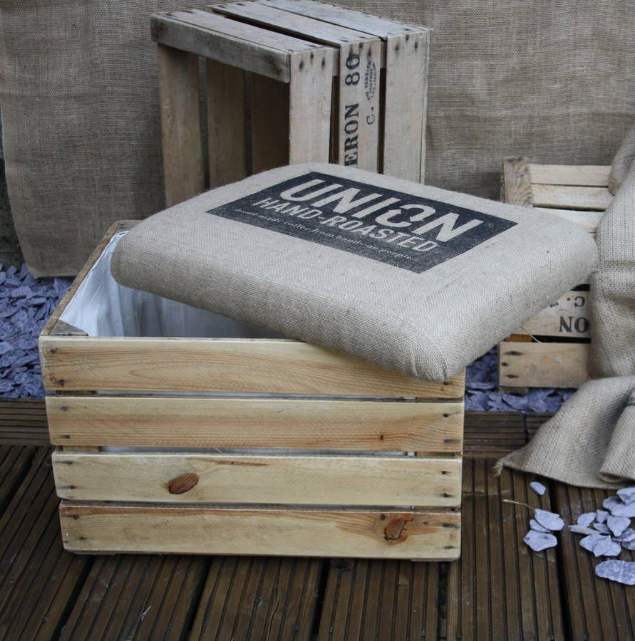 Vintage Wooden Crate Ottoman Storage Box Seat By The Comfi Cottage