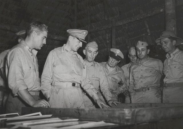General Douglas Macarthur Studies A Relief Map Of Cape Gloucester