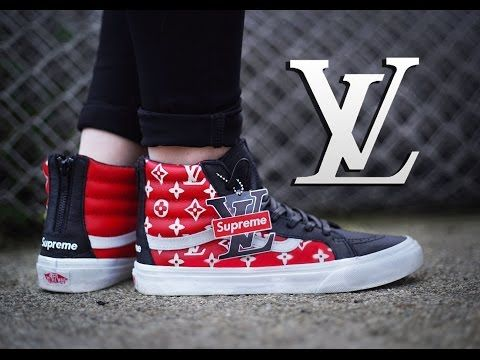 a4a29a7ad (10) How To: Louis Vuitton x Supreme Collab Vans Sk8 Hi Custom + On Foot |  Dnicecustoms Stencil Tutorial - YouTube