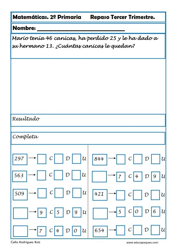 Ejercicios de Matemáticas Segundo Primaria   Pinterest   Ejercicios ...
