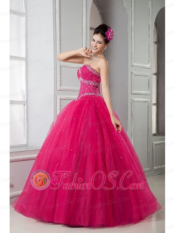2013 Hot Pink Sweet 16 Dress Ball Gown Sweetheart Tulle Beading