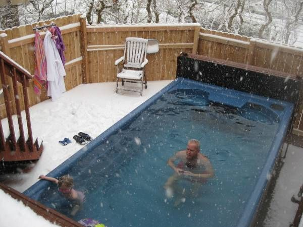 A swim spa that you can use all year. Thanks to my friend, Lori, I now want one of these.