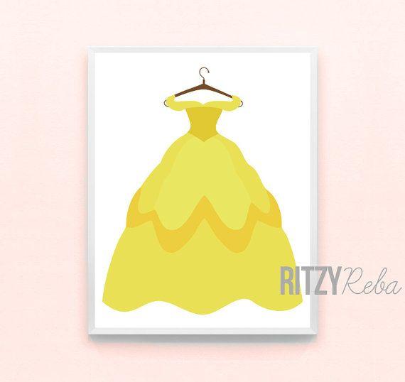 Disney Belle Princess Dress Print - Beauty And The Beast Minimalist ...