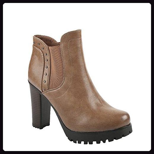 Ideal Shoes, Damen Stiefel & Stiefeletten , Beige - Beige - Größe: Fr 41