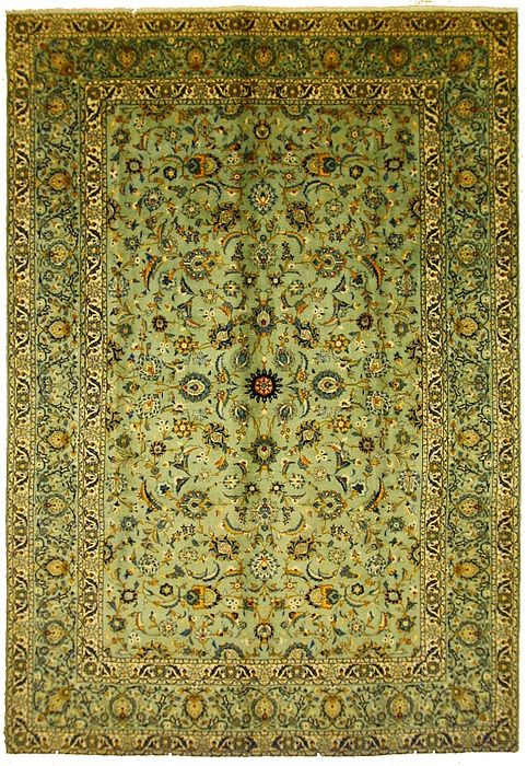This Semi Antique Authentic Persian Kashan Rug Is Hand