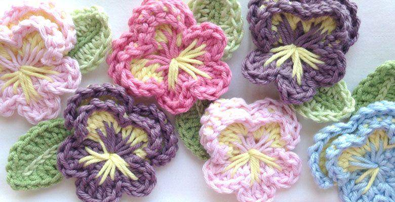 easy crochet pansy pattern, free pattern by Ruby & Custard ༺✿ƬⱤღ ...