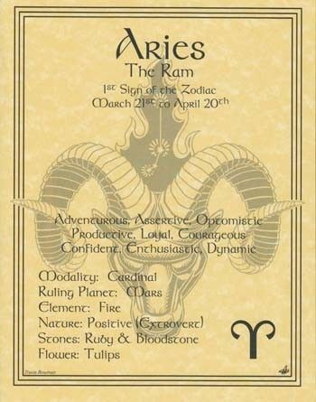 Aries (March 21 - April 19) — Angel: Samuel; Planet: Mars; Element: Fire; Stones: Ruby, Garnet, Bloodstone, Diamond; Flowers/Herbs: Thistle, Wild Rose; Colors: Red, Bright colors; Day of the Week: Tuesday | SOURCE: unknown