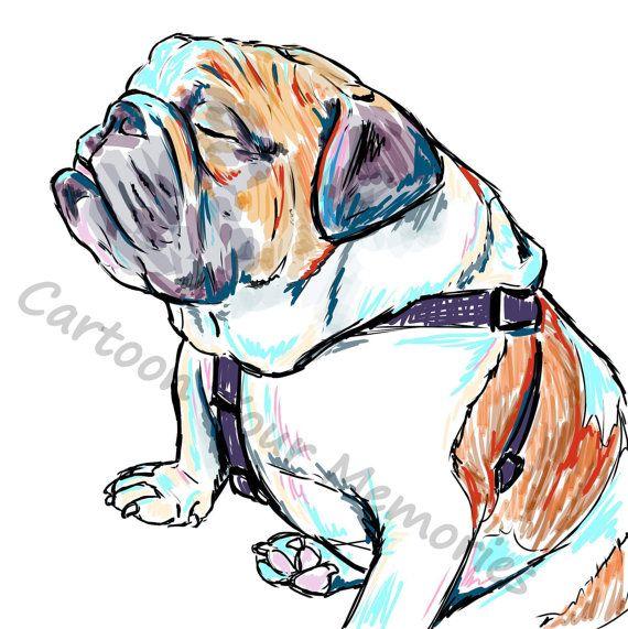 Sleepy english bulldog print on Etsy, $10.00