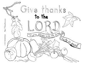 Psalm 1071 Give Thanks To The Lord Coloring Page From Hasten Home Children Kidmin Thanksgiving