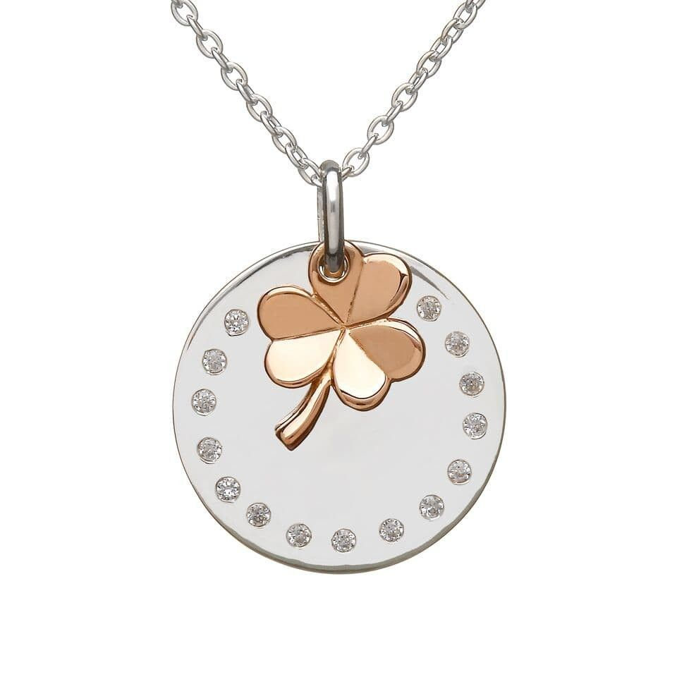 House of lor sterling silverrose gold hanging shamrock pendant house of lor sterling silverrose gold hanging shamrock pendant chain makers of the aloadofball Gallery
