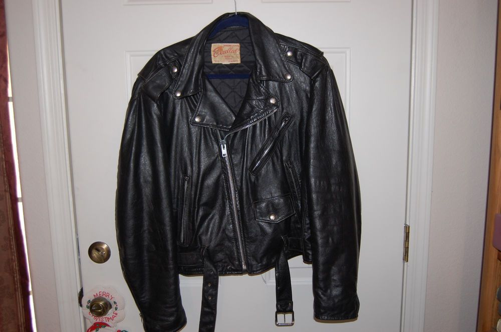 Vintage 1960 S Excelled Black Leather Motorcycle Jacket Mint Vintage Mens 44r Leather Motorcycle Jacket Black Leather Motorcycle Jacket Black Leather