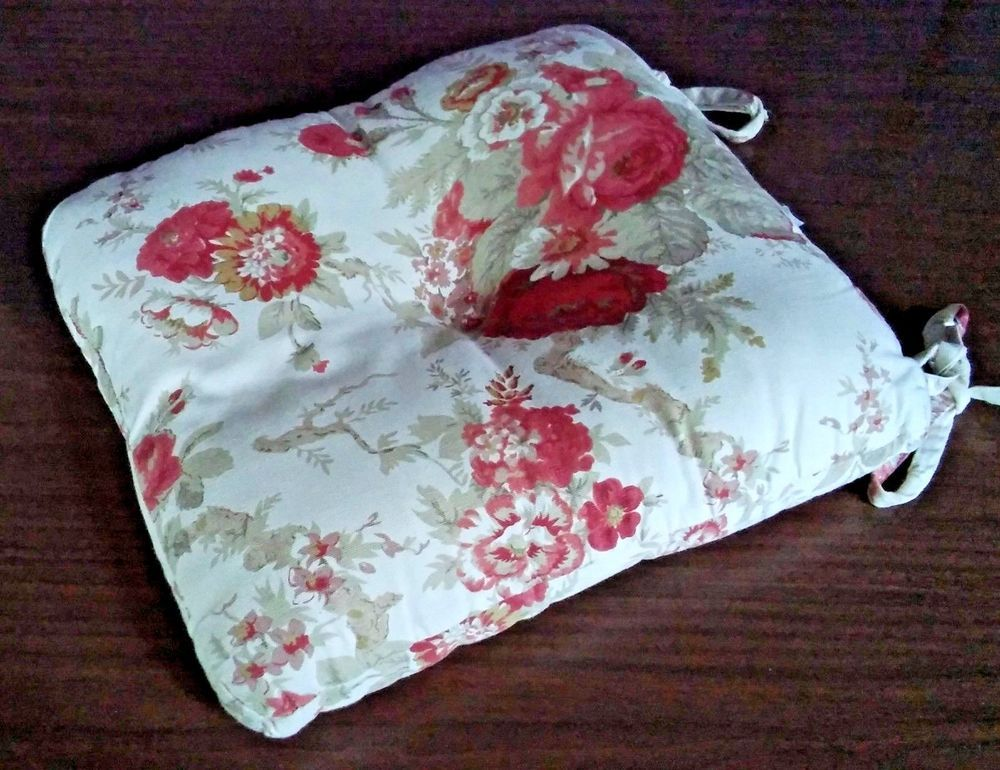 Waverly Garden Room Dining Chair Seat Pad Cushion Norfolk Vintage Rose Red Pink