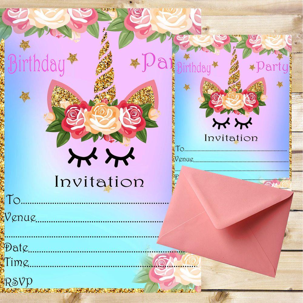 Unicorn Invitations Party Invites Birthday Kids Unicorn theme ...