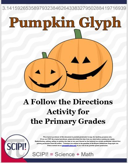 This pumpkin glyph for fall or Halloween is an excellent activity for reading and following directions, and requires problem solving, communication, and data organization. The students color or put different items on a pumpkin based on information about themselves. Students are to finish the pumpkin glyph using seven categories. A glyph such as this one is very appropriate to use in the data management strand of math.