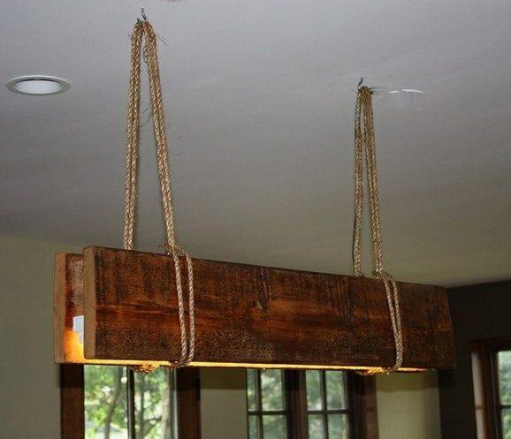 Reclaimed wood Chandelier di UniqueWoodIron su Etsy