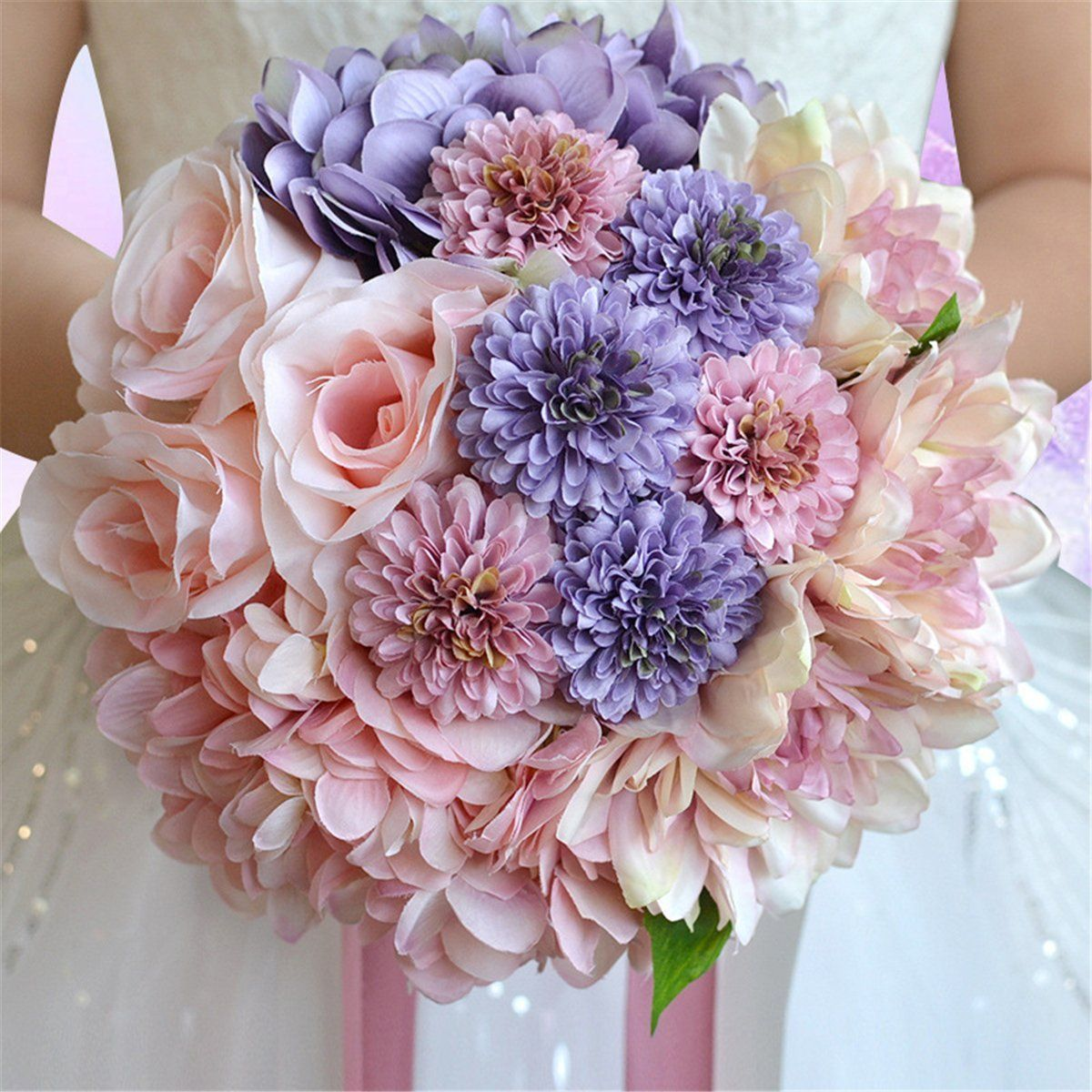 Wedding bouquets without roses  Zebratown uu Chrysanthemum Bridal Bridesmaid Bouquets Artificial