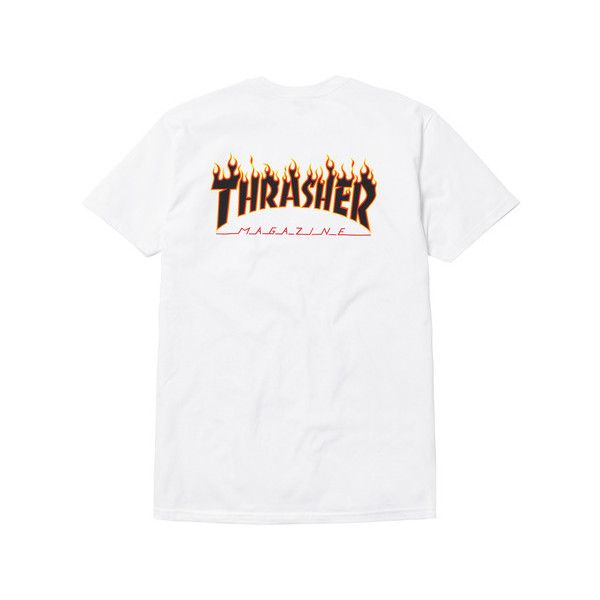 c80cd71fa Supreme Supreme/Thrasher Tee ($40) ❤ liked on Polyvore featuring tops, t- shirts, white t shirt, white tee and white top