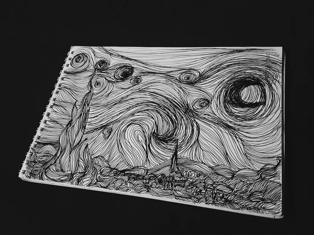 Starry night.✨🌠🌘🌃 #starrynight #vangogh #letitgogh #amnesiac #linework #blackart #original #sketchbook #sketch #dailysketch #black #blackandwhite #art #artlovers #vsco #vscodz #vscoalgeria