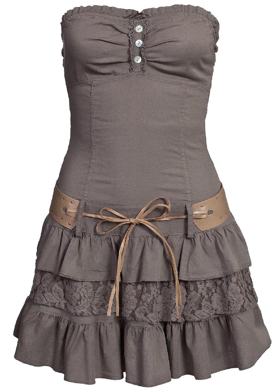 Madonna Bandeau Mini Kleid Cm114a M Sonja Spitzenansatz Mit Gurtel Fango Braun Amazon De Bekleidung Damen Mode Modestil Mode