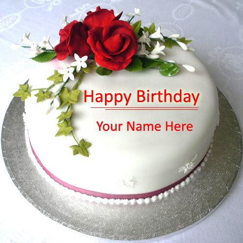 Birthday Images With Flowers And Cake With Names : Write Name on Beautiful Love Birthday Cake Online Free ...