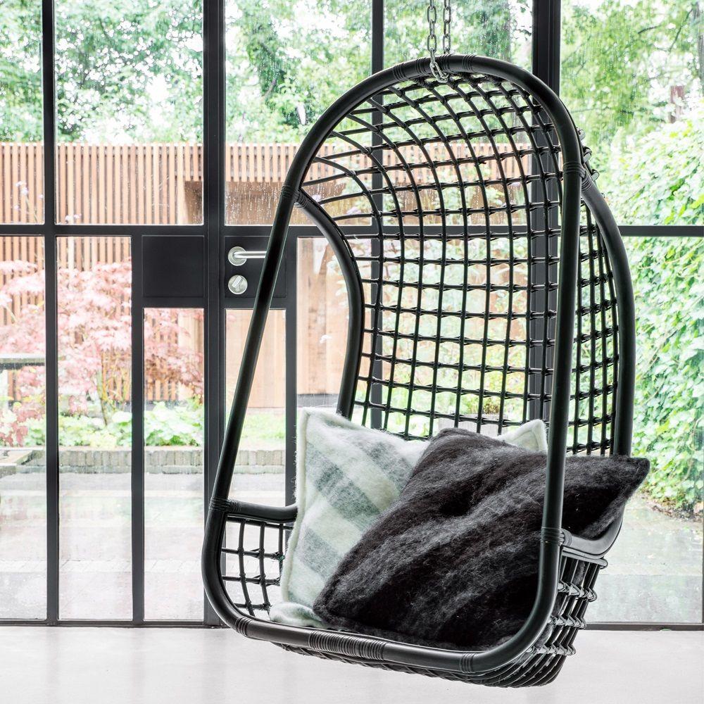 Indoor Rattan Hanging Egg Chair in Black Hanging egg