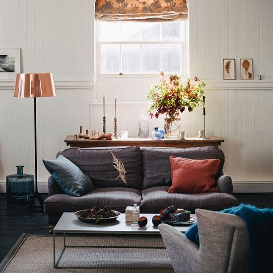 Cream Living Room With Grey And Copper